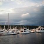 stormy sky above marina