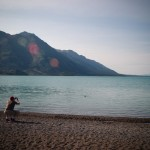 Fetch! on Kluane Lake in the Yukon Territory