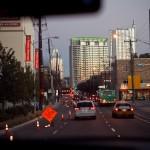 heading toward downtown at twilight