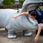goofing around with the downtown hippo