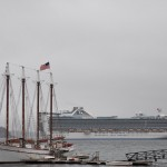 Princess Cruise ship and a tall ship in the harbor