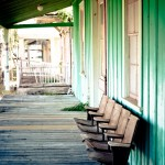 turquoise porch and theater seats