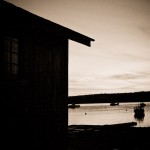 sepia shack and boats