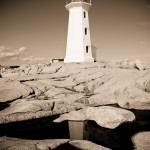 lighthouse and reflection in sepia